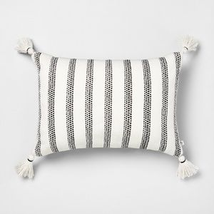 Hearth & Hand black striped oblong pillow tassels